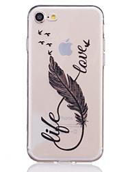 Pour iPhone X iPhone 8 iPhone 7 iPhone 7 Plus iPhone 6 Etuis coque Transparente Relief Motif Coque Arrière Coque Plumes Flexible PUT pour