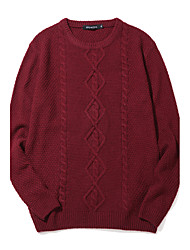 Men's Retro Slim Cable Knit PulloverCotton / Polyester Long Sleeve Blue / Red
