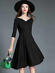 Women's Going out / Casual/Daily / Formal Simple / Street chic Swing Dress,Solid Boat Neck Above Knee ¾ Sleeve Black