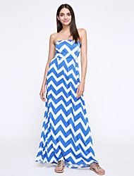 Women's Sexy Sripes Print Off-shoulder Slim Maxi Dress