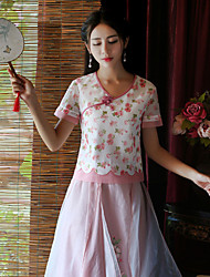 Our Story Going out Vintage Summer T-shirtEmbroidered Sweetheart Short Sleeve Pink Polyester Medium