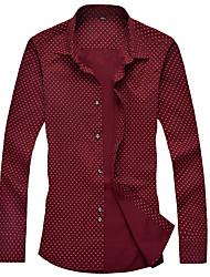 Men's Work Formal All Seasons Shirt,Polka Dot Long Sleeve Cotton
