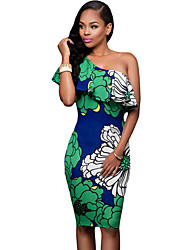 Women's Greenish Floral Print Frill One Shoulder Midi Dress