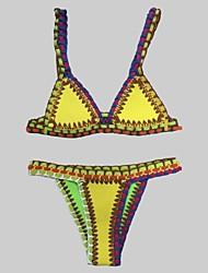 Bikinis Aux femmes Couleur Pleine Licou Nylon / Polyester
