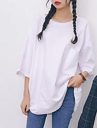 Damen Solide Einfach Lässig/Alltäglich T-shirt,Rundhalsausschnitt Sommer ½ Länge Ärmel Weiß / Schwarz Baumwolle Undurchsichtig
