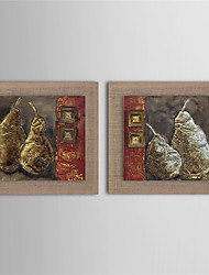 2 Panel Modern Wall Art Pictures Abstract Fruit Pear Oil Painting Hand-Painted On Linen Home Decoration With Frame