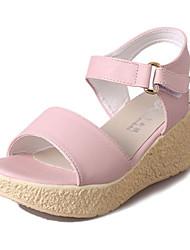 Damen Sandalen PU Sommer Normal Schnalle Keilabsatz Beige Blau Rosa 5 - 7 cm