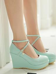 Damen-High Heels-Outddor-Leder-Blockabsatz-Modische Stiefel-Blau