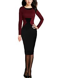 Women's Work Simple Bodycon DressHoundstooth Round Neck Knee-length Long Sleeve Polyester Fall / Winter Medium