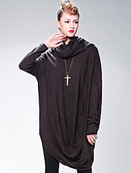 LUTING Women's Round Neck Long Sleeve Above Knee Dress-7129