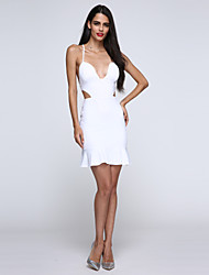 Women's Sexy Bodycon Casual Party Work Straps Backless V Neck Slim Dress
