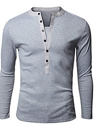 Herren T-shirt-Einfarbig Freizeit / Büro / Übergröße Baumwolle / Kunstseide Lang-Schwarz / Blau / Grün / Weiß / Grau
