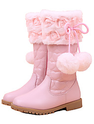 Girls Cinderella Suede Boots Princess Shoes Soft Bottom Dress shoes  Princess Fur Low Heel Knee High Boots