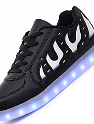 Big Size LED Shoes Men's Sneakers Comfort Synthetic Casual Flat Heel Lace-up Black / White Others