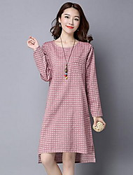 Women's Casual/Daily Simple Loose DressStriped Round Neck Knee-length Long Sleeve Pink / Gray Linen