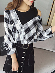 Women's Going out Street chic Fall ShirtCheck V Neck Long Sleeve Black Polyester Medium