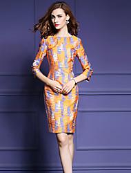 Women's Plus Size Street chic Sheath DressGeometric Round Neck Above Knee