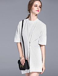 FRMZ  Women's Casual/Daily Vintage Loose DressStriped Crew Neck Above Knee  Length Sleeve White / Black