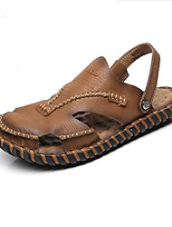 Men's Sandals Summer Leather Casual Flat Heel Others Brown Khaki Others