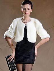 Женский На каждый день / Большие размеры Однотонный Пальто с мехом Круглый вырез,Уличный стиль Зима Белый / Черный Длинный рукав,