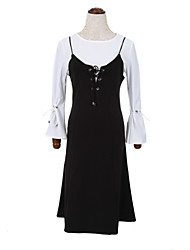 Women's Casual/Daily Simple Fall Set SkirtSolid Round Neck Long Sleeve Black Cotton Medium