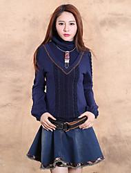 Mujer Regular Pullover Noche Vintage,Un Color Azul Cuello Alto Manga Larga Lana / Algodón Primavera / Otoño Grueso Microelástico