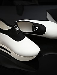 Women's Loafers & Slip-Ons Fall Comfort PU Casual Low Heel Others Black / White / Almond Sneaker