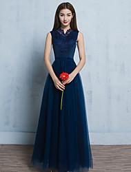 Formeller Abend Kleid A-Linie Gekerbt Boden-Länge Tüll mit Applikationen