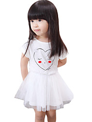 Girl's Casual/Daily Solid DressOthers Summer Blue / White