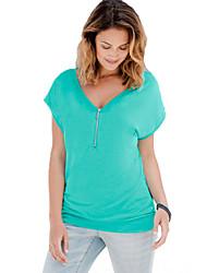 Damen Solide Einfach / Street Schick Ausgehen / Lässig/Alltäglich T-shirt,V-Ausschnitt Alle Saisons Kurzarm Blau / Rot / SchwarzBaumwolle
