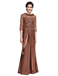 Lanting Bride® Sheath / Column Mother of the Bride Dress Floor-length 3/4 Length Sleeve Lace / Stretch Satin with Beading / Lace / Side Draping