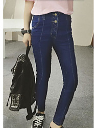 Women's Solid Blue Jeans PantsStreet chic Fall