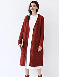 Mujer Largo Cardigan Noche / Casual/Diario Vintage,Un Color Rojo Escote en Pico Manga Larga Lana / Nailon Otoño Medio Microelástico