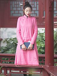 Manteau Rembourré Aux femmes Manches Longues Chinoiserie Lin