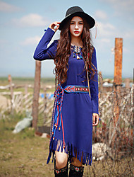 Our Story  Going out Vintage Sheath DressPaisley Round Neck Midi Long Sleeve Blue Polyester / Spandex Spring