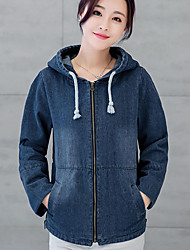 Women's Casual/Daily Simple Spring / Fall Denim JacketsSolid Hooded Long Sleeve Blue Others Medium Cowboy
