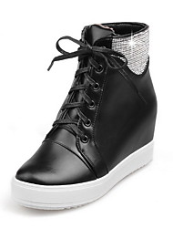 Women's High Heels Solid Round Closed Toe Lace Up Boots