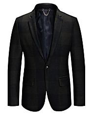 Men's Plaid Casual / Work / Formal / Plus Size BlazerWool / Acrylic / Polyester Long Sleeve Black