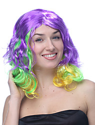 Multicolor Purple Green and Yellow Moderated Length Wavy Halloween Wigs Synthetic Wigs Costume Wigs
