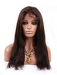 Cabelo natural humano peruca peruca 16-26 polegadas reta brasileiro virgem cheia do laço com cabelo do bebê 2 # cor