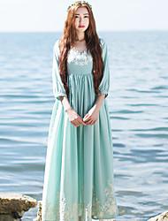 Ample Robe Femme Décontracté / Quotidien simple / Chinoiserie,Broderie Col en V Maxi Manches ¾ Bleu Polyester Printemps Taille HauteNon