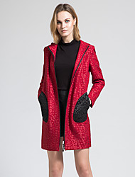 BORME Women's Shirt Collar Long Sleeve Trench Coat Red-Y062