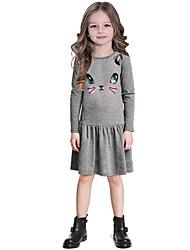 Menina de Vestido,Casual Estampado Poliéster Outono Cinza