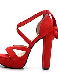 Women's Sandals Summer Heels / Platform / Sandals Fabric Party & Evening / Dress / Casual Chunky Heel Black / Yellow /