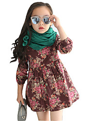 Girl's Casual/Daily Print DressCotton / Rayon Spring / Fall Blue / Brown / Yellow