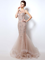 Formal Evening Dress Trumpet / Mermaid Scoop Sweep / Brush Train Tulle with Pattern / Print