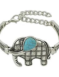 Silver Color Imitation Turquoise Elephant Wrap Bracelets