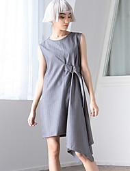 ROOM404 Women's Work Simple Loose DressStriped Round Neck Knee-length / Asymmetrical Sleeveless