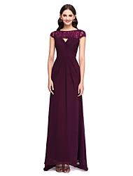 2017 Lanting chiffon trem bride® sweep / escova / laço elegante vestido de dama de honra - bateau com rendas