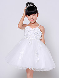 Ball Gown Knee-length Flower Girl Dress - Cotton / Lace / Organza / Tulle Short Sleeve One Shoulder withAppliques